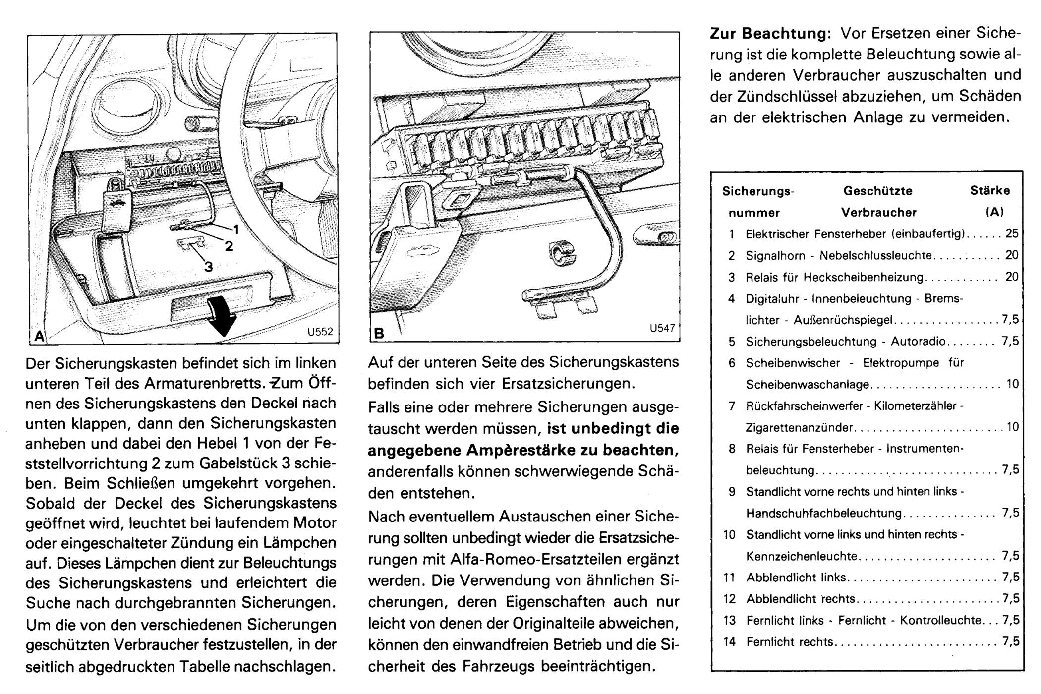 Alfa Romeo Spider Sicherungskasten Sowie Sicherung Sowie Belegung Und Ampere Bei Der Reparatur