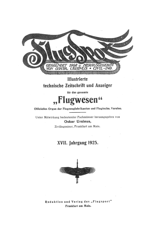 Sachregister und Inhaltsverzeichnis der Zeitschrift Flugsport 1925