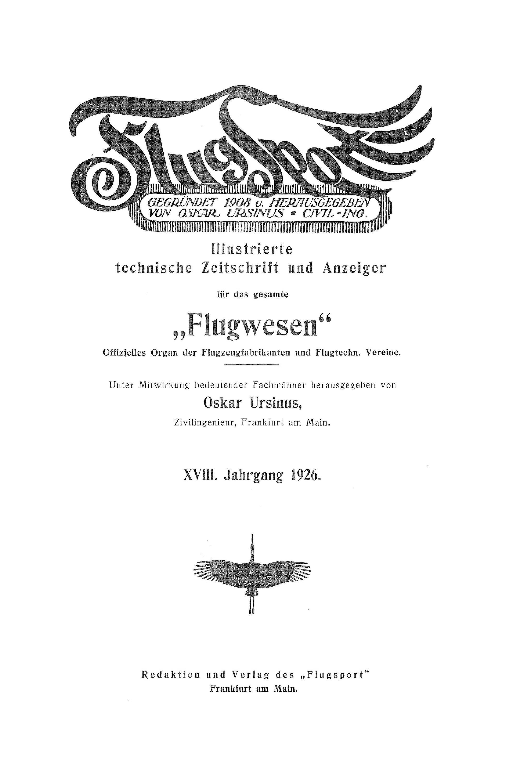 Sachregister und Inhaltsverzeichnis der Zeitschrift Flugsport 1926