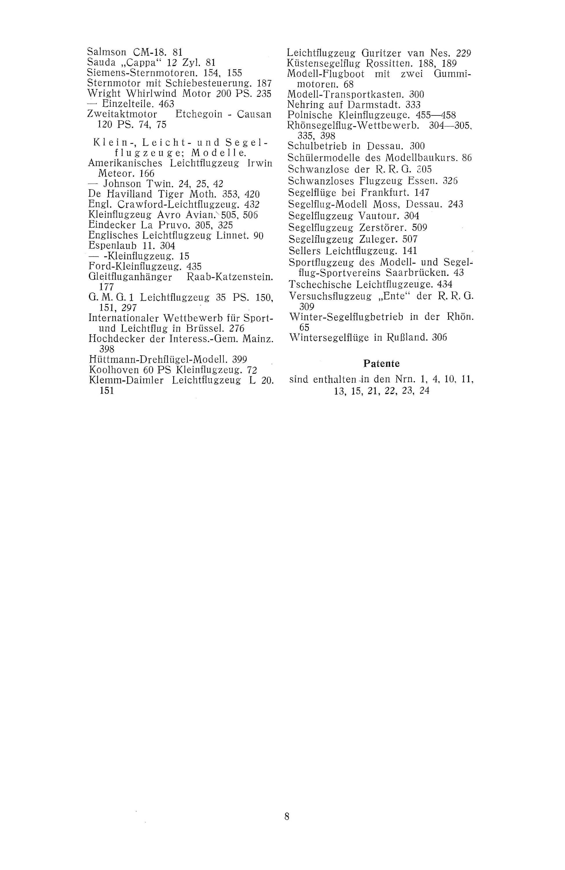 Sachregister und Inhaltsverzeichnis der Zeitschrift Flugsport 1927