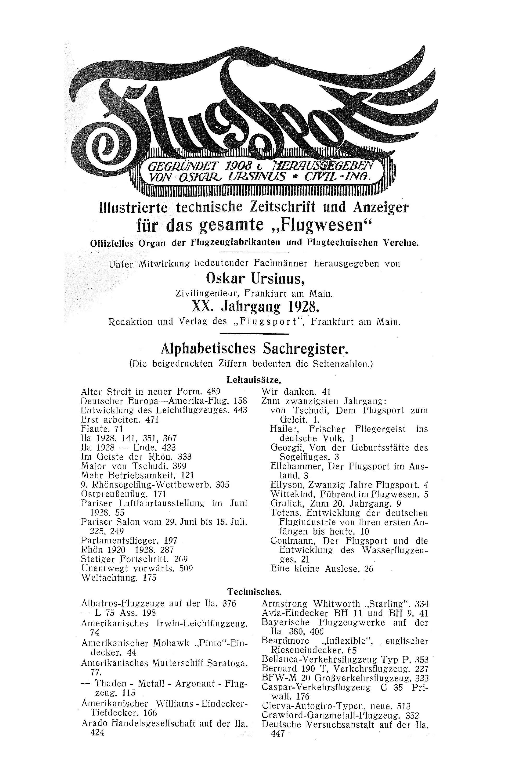 Sachregister und Inhaltsverzeichnis der Zeitschrift Flugsport 1928