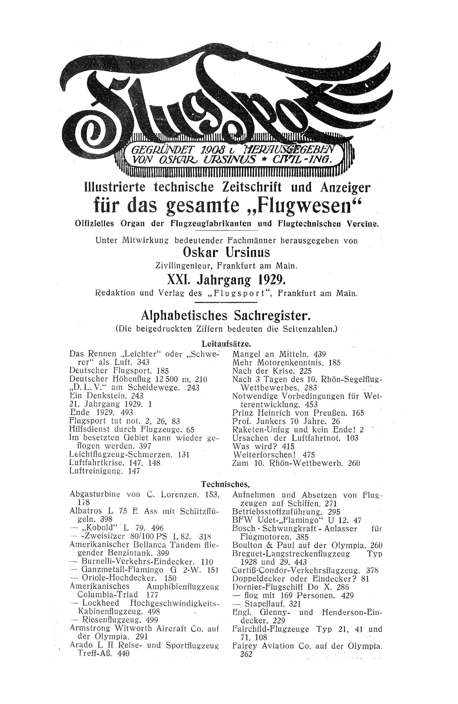 Sachregister und Inhaltsverzeichnis der Zeitschrift Flugsport 1929