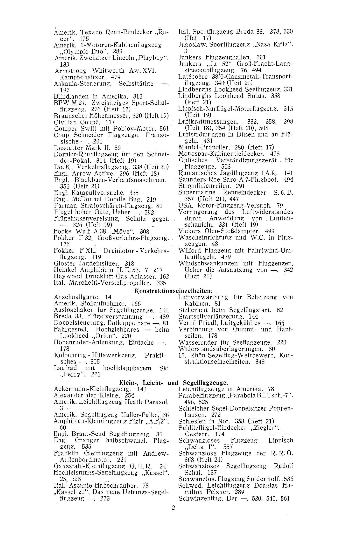 Sachregister und Inhaltsverzeichnis der Zeitschrift Flugsport 1931