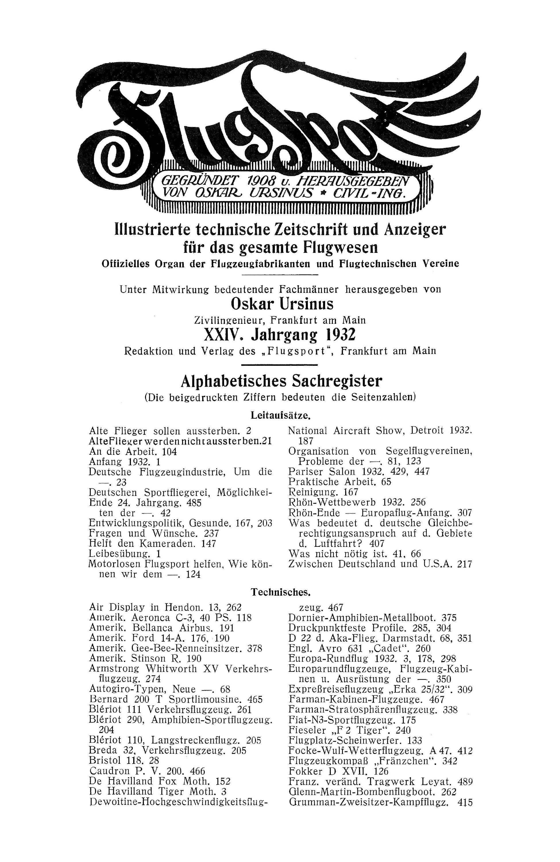Sachregister und Inhaltsverzeichnis der Zeitschrift Flugsport 1932