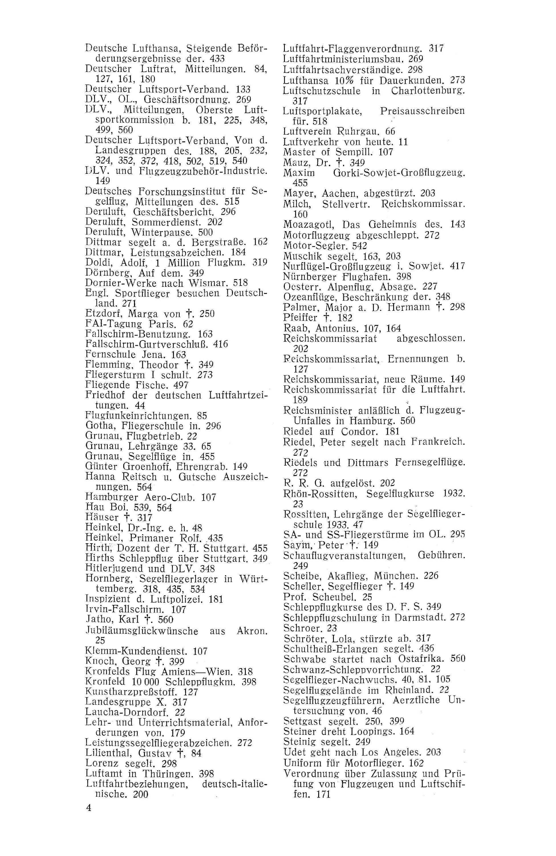 Sachregister und Inhaltsverzeichnis der Zeitschrift Flugsport 1933
