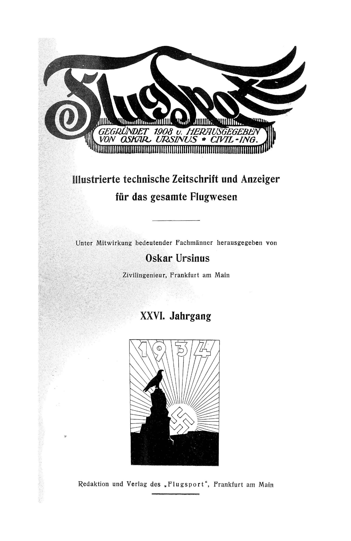 Sachregister und Inhaltsverzeichnis der Zeitschrift Flugsport 1934