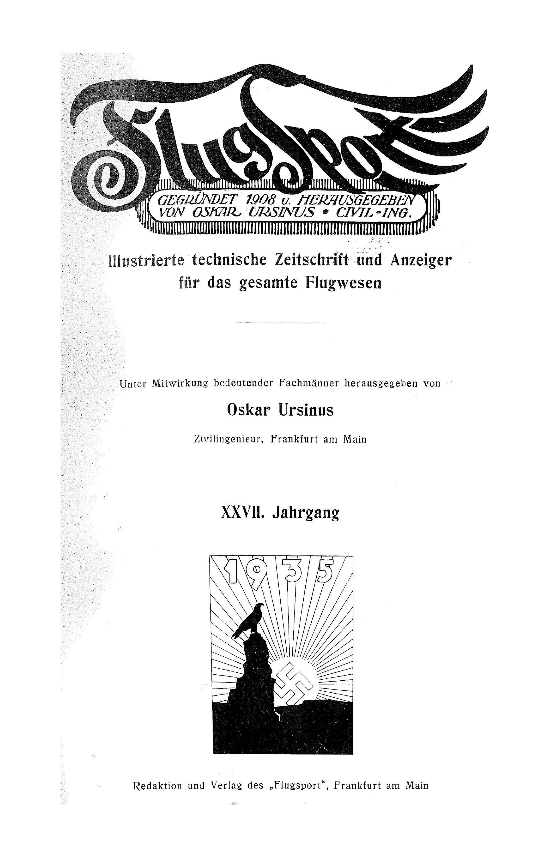 Sachregister und Inhaltsverzeichnis der Zeitschrift Flugsport 1935