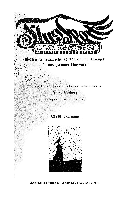 Sachregister und Inhaltsverzeichnis der Zeitschrift Flugsport 1936
