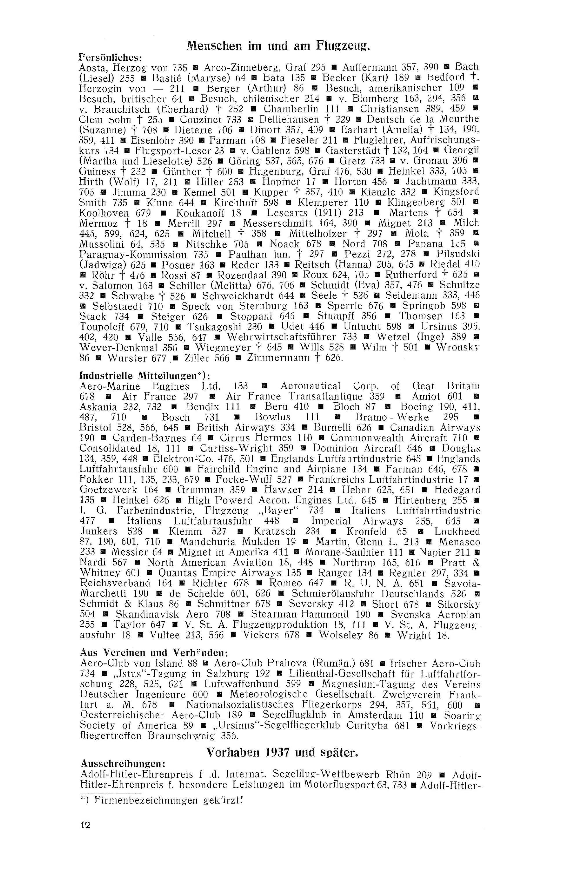 Sachregister und Inhaltsverzeichnis der Zeitschrift Flugsport 1937