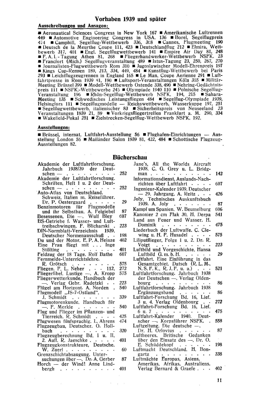 Sachregister und Inhaltsverzeichnis der Zeitschrift Flugsport 1939