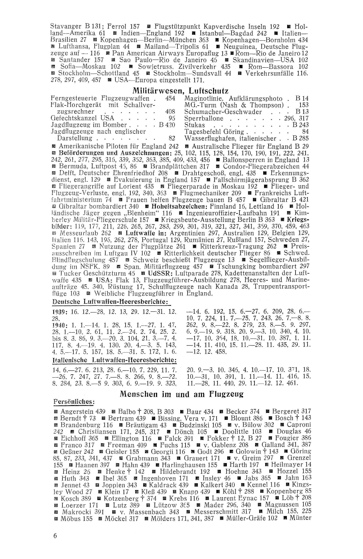 Sachregister und Inhaltsverzeichnis der Zeitschrift Flugsport 1940