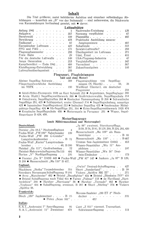 Sachregister und Inhaltsverzeichnis der Zeitschrift Flugsport 1941