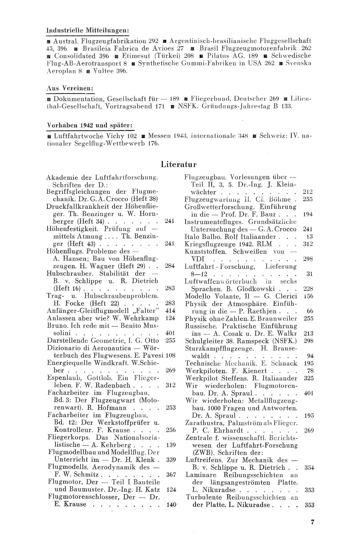 Sachregister und Inhaltsverzeichnis der Zeitschrift Flugsport 1942