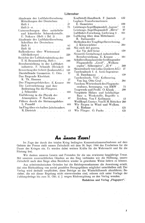 Sachregister und Inhaltsverzeichnis der Zeitschrift Flugsport 1943