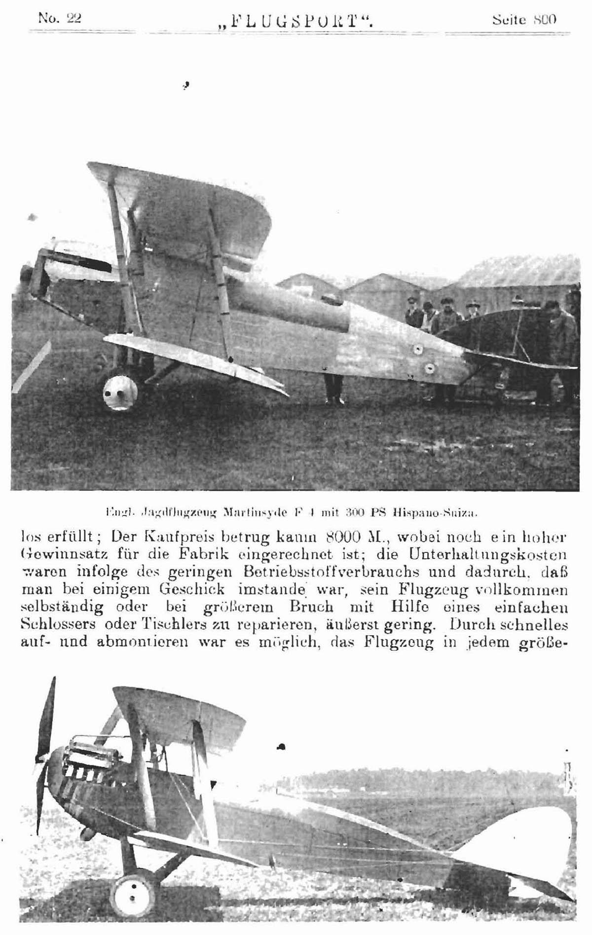 Leseprobe Zeitschrift Flugsport vom 29. Oktober 1919