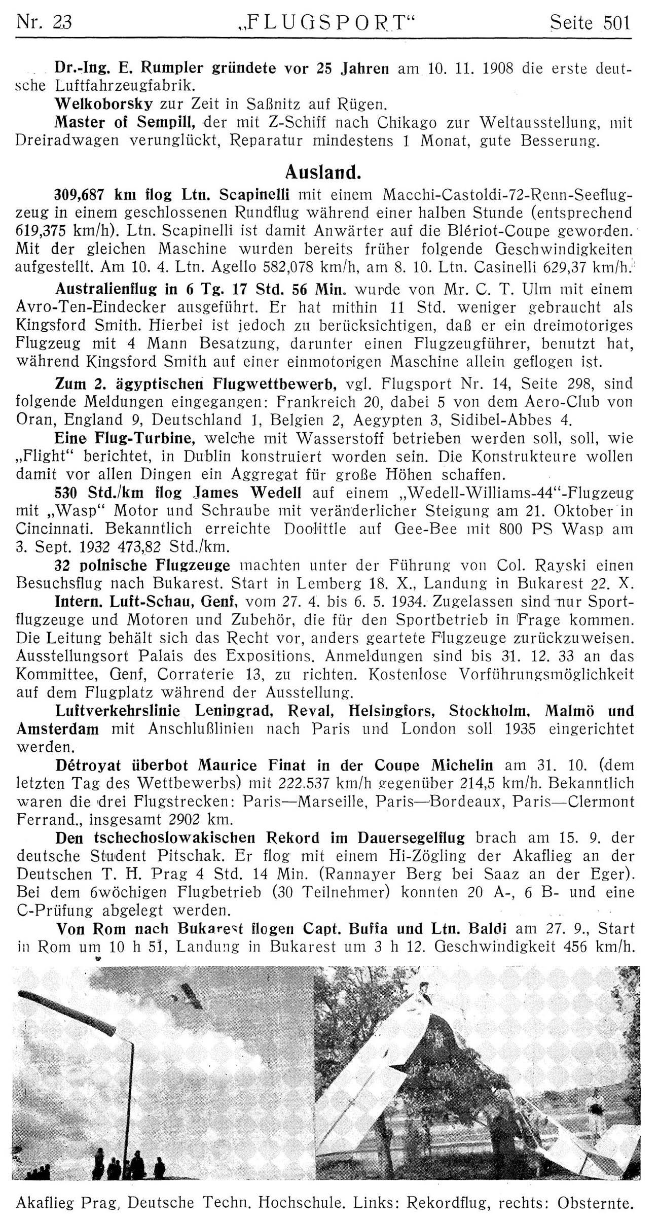 Leseprobe Zeitschrift Flugsport vom 8. November 1933